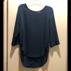 Tops - Navy 3/4 shirt with gold zipper on back